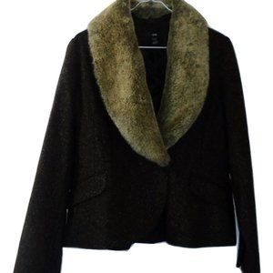 H&M Wool blazer with removable faux-fur collar, 16